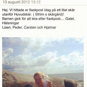 Bästa mailet någonsin. Flaskposten var skickat från Gotlandsfärjan den 30 juli.