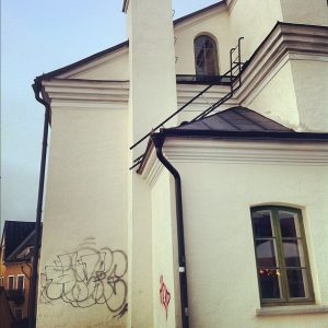 """""""You know what would make this 300-year old church look better? My bullshit graffiti. There, that's better."""""""