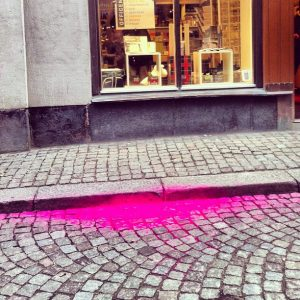 Magenta toner accident outside the Officemakers.