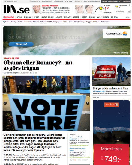 Today's Big Story in Sweden: US Election