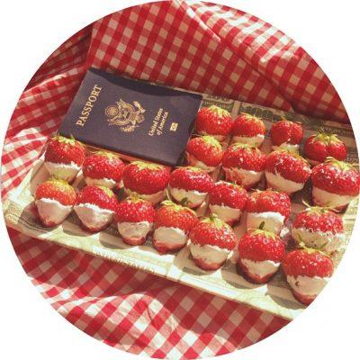 May I present the American flag made of strawberries, marshmallow fluff, blueberry cream, powdered vanilla sugar, my passport and $100 bill napkins.
